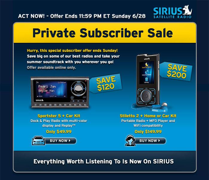Sirius coupon deals