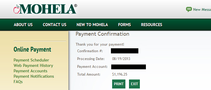 A screenshot of the confirmation page from my last student loan payment ever!