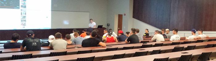 Alumnus Andre Torrecuso talks to the Delta-Beta Chapter about recruitment