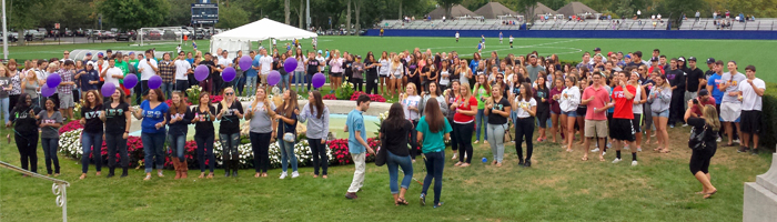 Monmouth University's Greek Life gathered on the Great Lawn